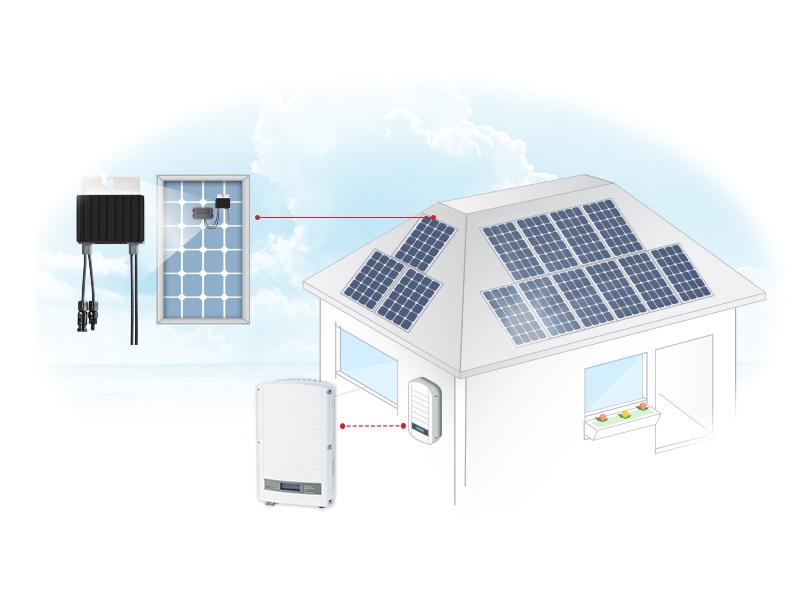 Schéma de fonctionnement et pose de panneaux photovoltaïques avec optimiseur et onduleur Energreen