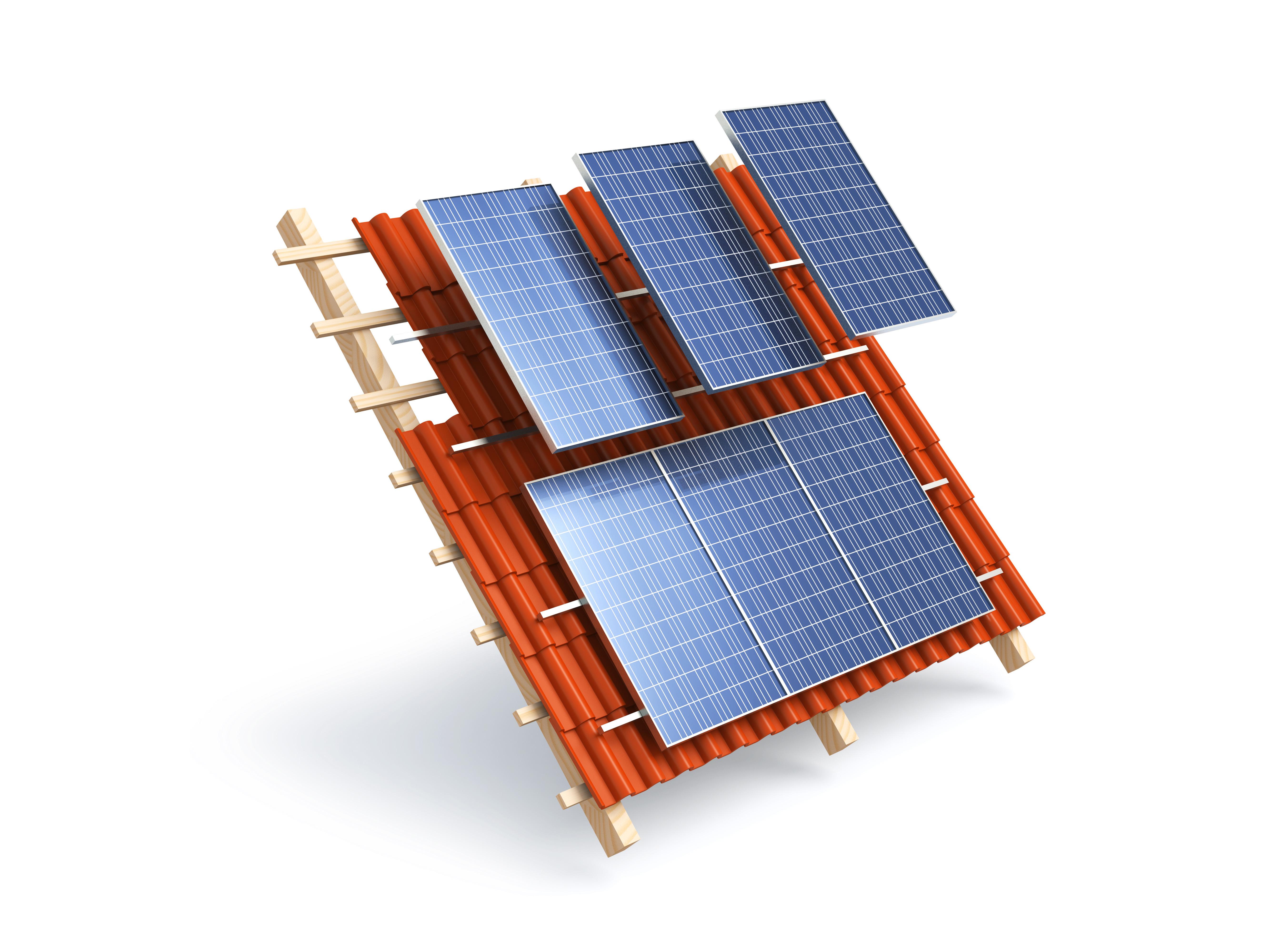 Pose de panneaux solaires photovoltaïques sur toit incliné Energreen