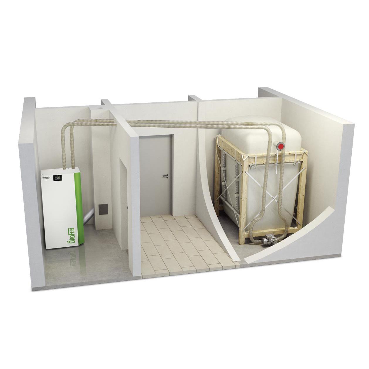 Pelletketel installatie Okofen Condens Energreen pelletopslag silo