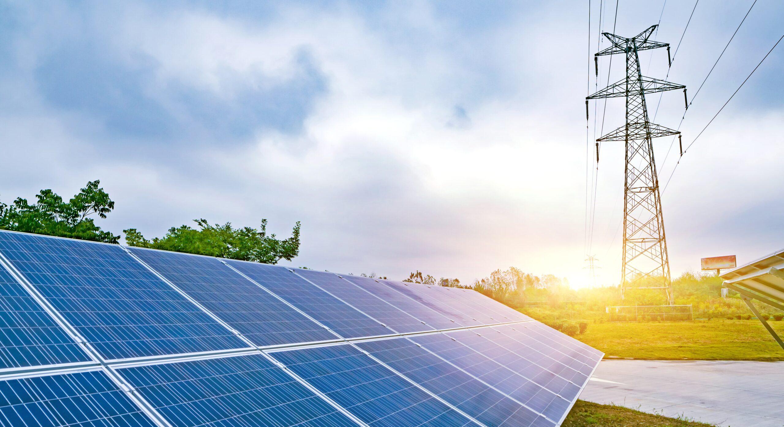 Fotovoltaïsche zonnepanelen en elektriciteitsdistributienetwerk